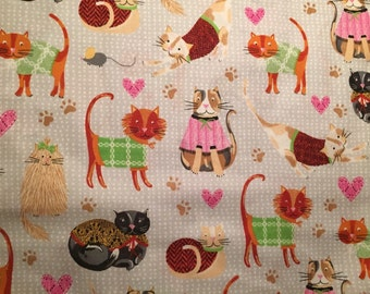 Cotton Cat Fabric - Cotton Kitten Fabric - Cats in Sweaters Cotton Fabric