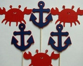 12 Crab and Anchor Cupcake Toppers