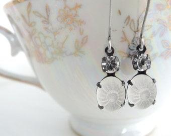 Delicate Heirloom Style Wedding Jewelry White Rhinestone Vintage Glass Earrings Shabby Romantic Small Crystal Glass Estate Style Earrings