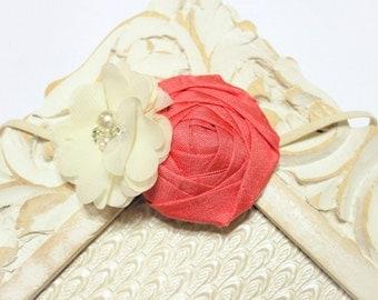 Vintage Coral and Ivory Headband, Baby Headband, Vintage Fabric Hedband, Newborn Headband, Coral Headband, Photography Prop