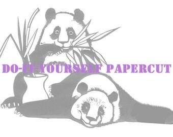 Pandas Flower Arranging DIY papercut