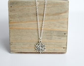 "Snowflake Pendant Necklace, Silver Snowflake Necklace, 20"" chain"