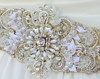 Beaded Bridal Sash-Wedding Sash In Pale Champagne And Ivory With Crystals And Pearls, Wedding Dress Sash, Bridal Belt, COLOR CHOICES