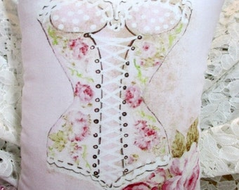 Pink ROSES Dress Form PILLOW, Shabby Pink Pillow, DRESS Form Pillow, Mannequin Pillow, Shabby Chic Pillow