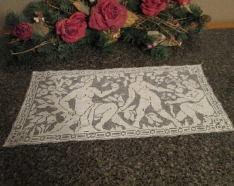 Vintage/Antique Filet Lace Doily with Adam and Eve in the Garden of Eden
