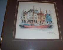 Incredible Colored Drawing Framed Art Print of Copenhagen Denmark