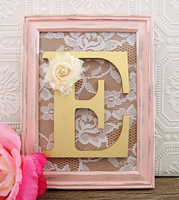 Gold decorative nursery letters baby girl by sealoveandsalt for Gold wall decor letters