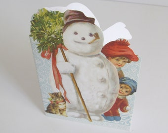 Jolly Fat Snowman Holiday Greeting Card Vintage Unused Christmas Card Vintage Xmas Card and Envelope