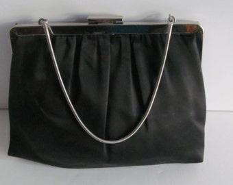 The Little Black Clutch Purse Champagne Satin Lined Chain Handle Purse Art Deco Purse Black Purse Evening Wear