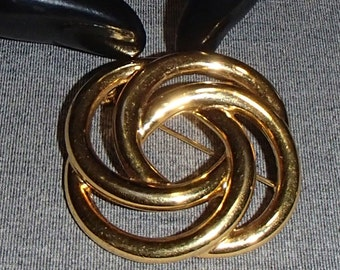 Monet Vintage Brooch, Mid-Century Gold Circles Pin Signed Vintage Jewelry
