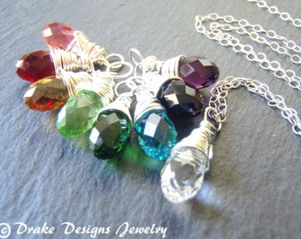 Sterling Silver wire wrapped briolette birthstone necklace