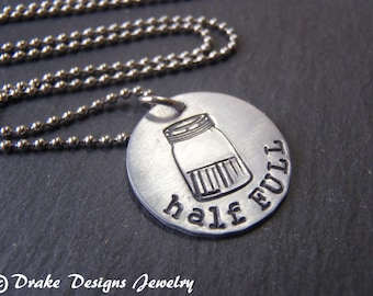glass half full necklace stay & think positive attitude gift for friend
