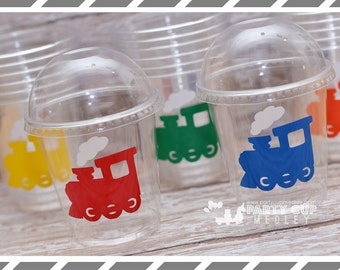 Train Birthday Party Cups-Party Favor Cups-Souvenir Cups Lids Straws