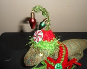 Holiday Bearded Dragon Hat Crocheted Christmas Elf Whoville Inspired Grinch Fashion with Lights and Peppermint