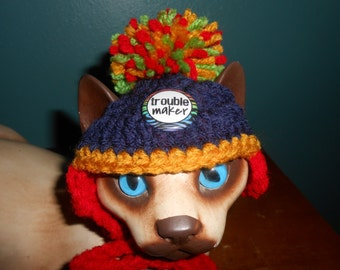 Crocheted Cat or Dog Hats w PomPom Troublemaker Message Pet Hat   X-Small and Small