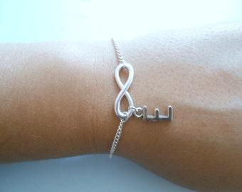 infinity bracelet - Bracelet infinity - infinity silver bracelet - Custom infinity bracelet - initial infinite bracelet -