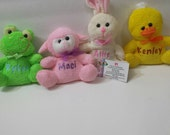 Personalized Easter stuffed animal, personalized Easter gift with name, custom duck, frog, lamb, or rabbit with name
