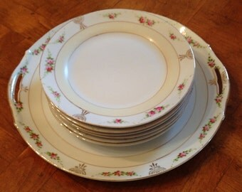 Antique Nippon Hand-Painted China Floral Dessert Plate Set With Handled Cake Serving Plate and Five Dessert Plates