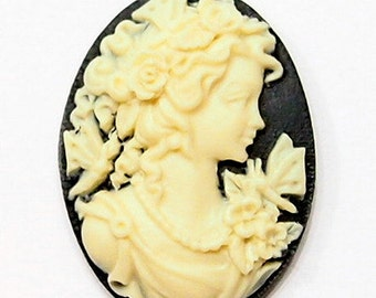 6 of 25x18 mm Cream over Black Grecian Butterfly Woman Cameos, Very Nice