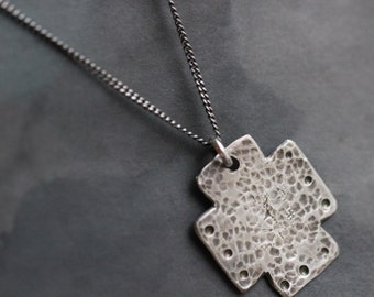 Sterling Silver Cross Pendant, Silver Cross Necklace, Rustic, Mission Cross, PMC Jewelry, 17 Inch, Sterling Silver Curb Chain