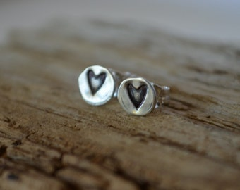 Sterling Silver Tiny Heart Earrings Post Earrings Reclaimed Sterling Silver Hand Stamped Eco Friendly Artisan Crafted Romantic Gift