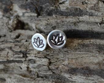 Sterling Silver Tiny Lotus Flower Earrings Post Earrings Reclaimed Sterling Silver Hand Stamped Yoga Meditative