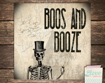 """INSTANT DOWNLOAD Printable Halloween Labels - 1.5"""" x 1.5"""" 24 labels per page - Boos and Booze - Haunted House Skeleton Tags"""