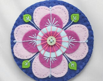 Handmade Felt Purple and Blue Flower Embroidered Brooch