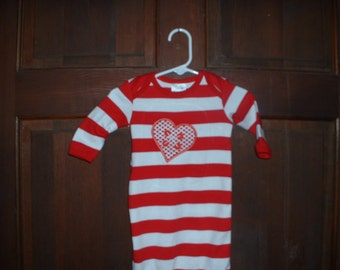 Red/White Striped Appliqued Elastic Bottom Sleeper--Size 0-3 Months--Heart
