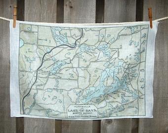 Lake of Bays Huntsville Canada Vintage Map Tea towel - FREE SHIPPING