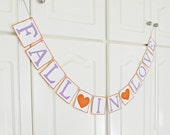 FREE SHIPPING, Fall in Love banner, Bridal shower banner, Wedding banner, Engagement party decoration, Photo prop sign, Purple, Orange