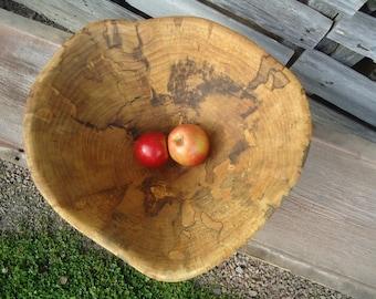 Large carved wood bowl - Wood bowl - Spalted Maple bowl - Wood carving - Hand carved wood bowl - Large wood bowl - Fruit bowl - Kitchen art