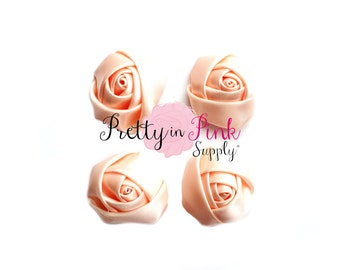 """Pale Peach Satin Rolled Rosettes Lot of 4...Rolled Rosettes...Mini Rolled Rosettes...1.5"""" Rosettes"""