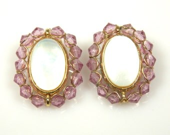 Vintage Liz Claiborne Faux Mother Of Pearl Purple Bead Earrings
