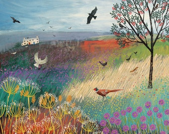 Print of an English landscape with Rowan Tree, pheasant and birds from an original acrylic painting 'The Rowan Tree' by Jo Grundy