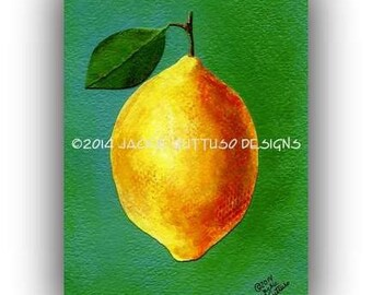 "Kitchen art, Lemon collage, Fruit art 5 x 7"" giclee print, Yellow art, Acrylic painting print, Citrus fruit, Green art, Food wall art print"