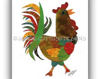 """Rooster print, Rooster collage 8 x 10"""" Giclee print, Chicken art, Colorful rooster kitchen, Acrylic rooster painting print, Animal collage"""