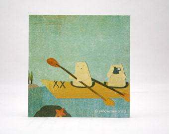 STICKY NOTEPAD: Kayaking Cats, Novelty Gift, Stocking Stuffer
