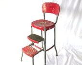 Cosco Shabby Chic Kitchen Stool Red