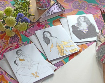fashion illustration note cards