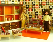 RETRO DOLL DIORAMA 1960's Floral Sitting Room, 1:6 Scale for Betsy McCall,Blythe,Ginny,Mme  Alexander, Sindy Toni, etc