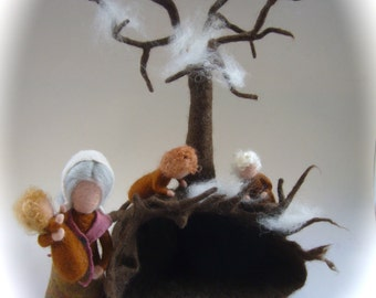 Mother earth.Root-child.Cave,Tree,Waldorf. Hand-felted. Wet  felted Waldorf