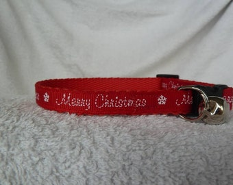 Handmade Merry Christmas Cat Collar