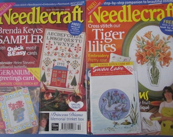 2 Needlecraft Magazine - June 1998 October 1998 with free Cross stitch kits