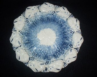 FREE U.S. SHIPPING--Blue and White Bunny Plate