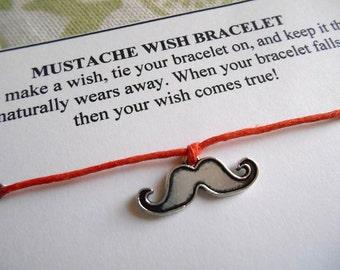 Mustache Wish Bracelet - Wish Bracelet - Mustache Bracelet - Little Man Birthday Party Favor - It's a Boy Shower Favor - Wishing Bracelet