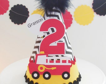 Lil' Chevron Red Firetruck Birthday Party Hat - Black, White, Red and Yellow - Personalized