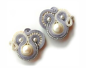 Handmade Bridal Earrings, Soutache Earrings, bridesmaid gift, White Gray, Handmade, Dangle Earrings, Wedding Earrings, Bridal Jewelry