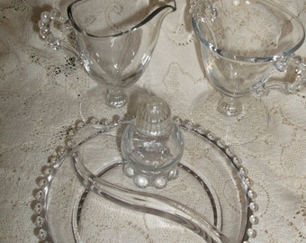 Imperial Glass Candlewick 4 Pieces Cream Sugar Relish Shaker