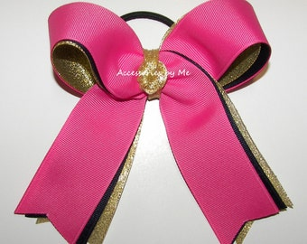Gymnastics Ponytail Holder Hot Pink Navy Blue Gold Metallic Grosgrain Ribbons Girls Hair Accessories Cheer Team League Gym Wholesale Lot